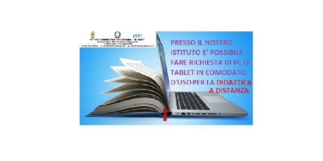 """Avviso di comodato d'uso per dispositivi digitali per gli alunni dell'I.C. """"Melchionda -De Bonis"""""""